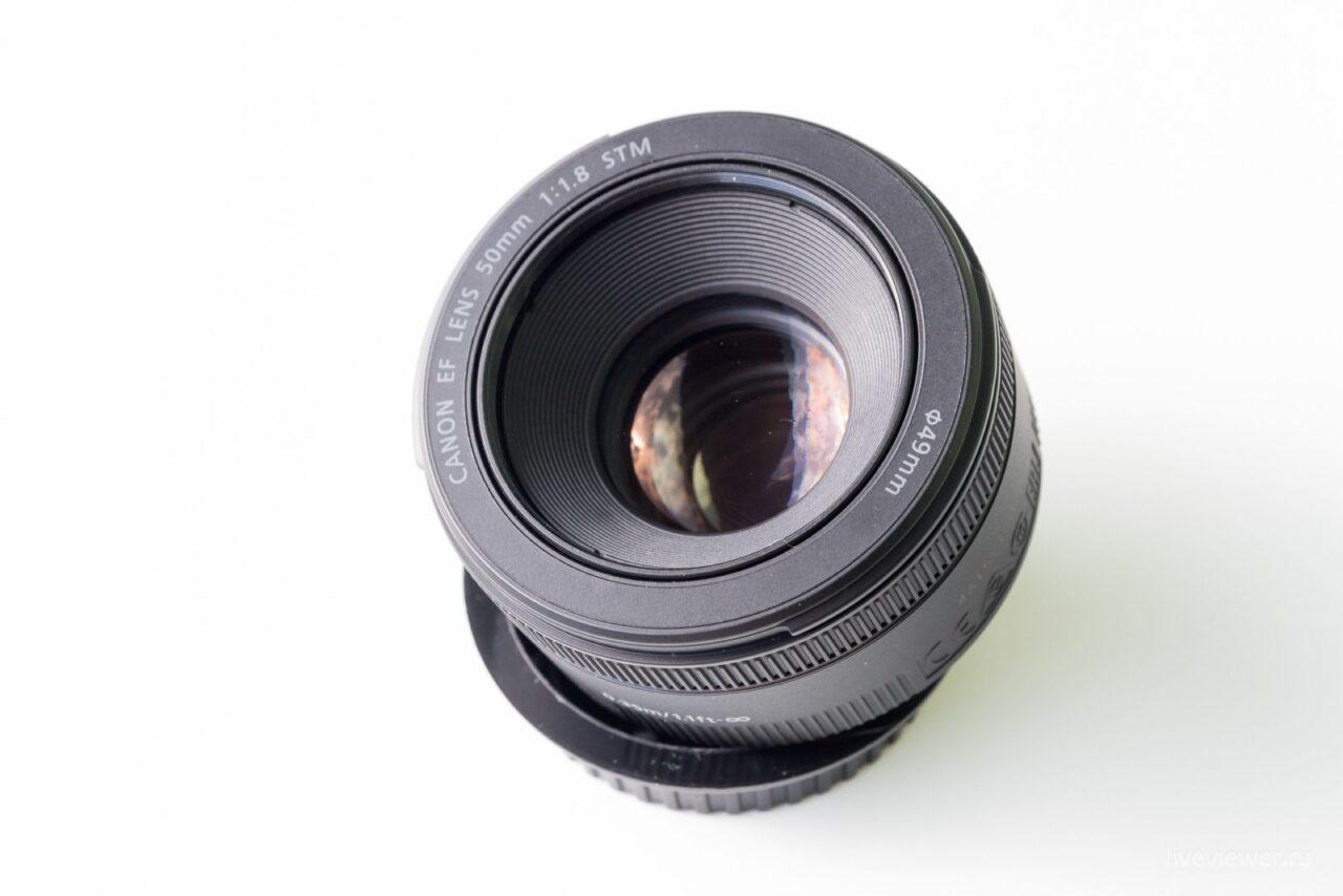 Canon EF 15mm 1.8 STM общий вид, вид на переднюю линзу
